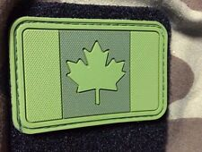 PVC FOREST GREEN PATCH CANADA FLAG CANADIAN OD TACTICAL ARMY OPS MORALE