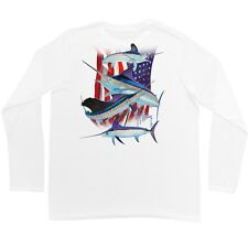 "Guy Harvey  ""Stand United "" Long Sleeve Performance Shirt with UV Blocker -Small"