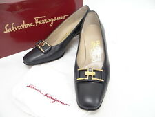 Auth Salvatore Ferragamo Pumps Shoes 5 1/2 D Navy Blue Italy 10120940100 Q25BX