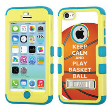 Hybrid 3-Layer Case (Yellow/Teal/Stand) for Apple iPhone 5C -KeepCalm Basketball