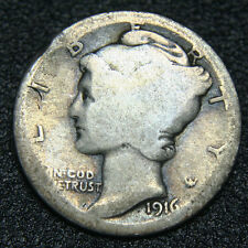 1916D Key Date Mercury Silver Dime 10¢ Coin Lot# MZ 2936