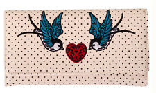 Banned Apparel Rockabilly 50s Polka Dot Tattoo Swallow Heart Wallet IVORY Gift
