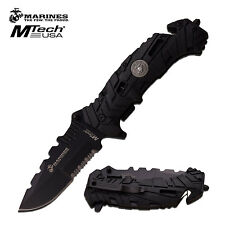 Licensed Mtech Marine Marines Black Rescue Folder Pocket Knife #1049BK