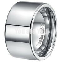 12MM Polished Tungsten Carbide Ring Mens Wedding Band Titanium Color