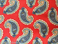Paisley Cotton Fabric Metre Red Marcus Sidewalk Floral Vintage Blue Yellow 1m