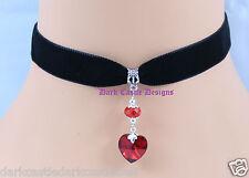 black velvet choker necklace red glass foil back heart pendant goth love  UK
