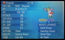 Non Shiny 6 IV * HP Fire Pentagono pokescrap evento timido SHAYMIN Pokemon ORAS X/Y