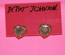 Betsey Johnson Heart Crystal Earrings