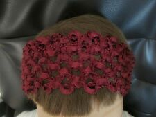 Bijoux burgundy hair bandeaux fabric band  headband crochet mesh hairband
