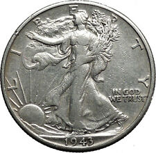 1943 WALKING LIBERTY Half Dollar Bald Eagle United States Silver Coin i44630