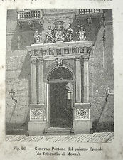stampa antica Genova PORTONE PALAZZO SPINOLA  1892