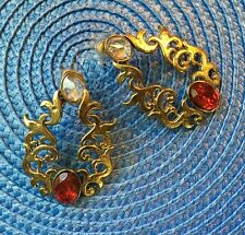 Antique gold finish earrings with red stone. Indian Bollywood costume jewellery.