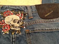 Ed Hardy Christian Audigier Blue Jeans - Size 30 Tag - 32x33 Actual - Skull