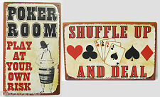 Poker Room/Shuffle Up & Deal TIN SIGN set funny metal poster home game decor OHW