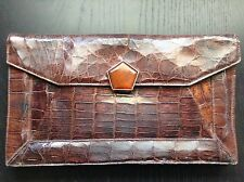 Rare Vintage 1940-50s Real Alligator Clutch with Bakelite Clasp