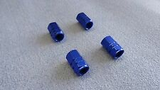 JAGUAR BLUE METAL DUST VALVE CAPS TYRE WHEEL ALUMINIUM SOLID HEXAGON COVER 4PCS