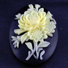 1 Resin Yellow Flower on Black Cameo Cabochon Embellishment