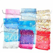 H1 100 Mixed Organza Gift Bags Jewellery Pouch 13cm X 10cm A+