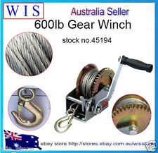 600LBS/270Kg 2-Ways Steel Cable Hand Gear Winch Manual Car Boat Trailer-45194