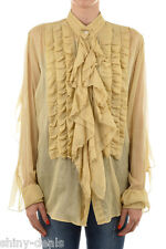DRIES VAN NOTEN New Woman Beige Cotton Silk CLEMONS Ruched Shirt Blouse Sz 38 fr
