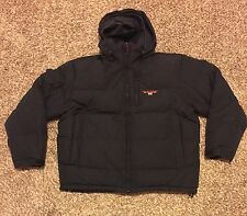 Vtg Polo Sport Ralph Lauren Black Feather Down Puffy Hoodie Jacket Size Men's XL