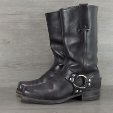 FRYE Made in USA Black Leather Harness Motorcycle Boots Mens 8.5 M