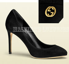 $635 GUCCI SHOES BLACK SUEDE INTERLOCKING GG LOGO DETAIL CLASSIC PUMPS 38.5 8.5