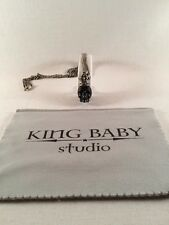 King Baby Studio Mens Carved Jet skull w/ silver crown pendant  K10-5451