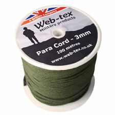 BRITISH MILITARY STYLE PARACORD PARA CORD REEL ROLL OLIVE GREEN BASHA BIVVI 100M