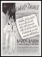 Publicité BADEN BADEN Station thermale vintage print ad  1939  - 11h