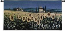 "TUSCAN TAPESTRY LANDSCAPE PAINTING SUNFLOWERS TUSCANY 26""x53"