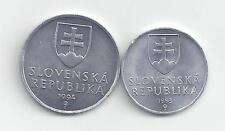 2 DIFFERENT COINS from SLOVAKIA - 1993 10 HALERU & 1994 20 HALERU.