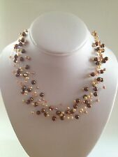 New David Elizabeth Jewelry,Gold & Brown Faux Pearl, Illusion, Floater Necklace