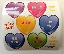 60 Valentine's Day Conversation Hearts  Stickers Party Favors FREE SHIP