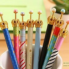 US Set of 6 Lovely Cute Crown Design Roller Pen Gel Ink for School Office Family