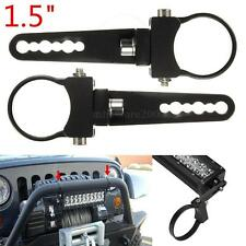 Pair 1.5'' LED Work Spot Light Bull Bar Mount Bracket Clamps Roll Holder Offroad