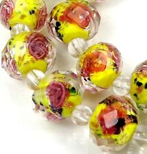 14 Czech Glass Faceted Rondelle Beads - Yellow Encased Rose Flower 12x8mm