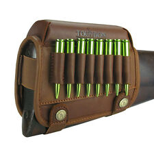 Tourbon Ammo Pouch Cartridges Holder Cheek Rest Pad Rifle Buttstock Real Leather