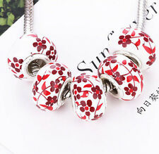 New 5Pcs Silver MURANO GLASS BEAD LAMPWORK Fit European Charm Bracelet A9