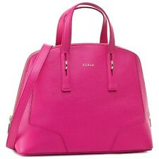 NEW NWT FURLA PERLA DESIGNER HOT PINK LEATHER GOLD TOTE BAG HANDBAG