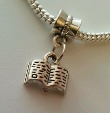 Silver Tone Book Library Slide Dangle Charm Fits Most European Style Bracelet