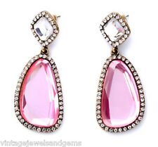 ROSE PINK & CLEAR WHITE CRYSTAL RHINESTONE Chunky Gold Chandelier Drop Earrings