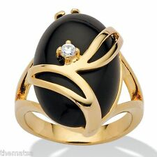 14K GOLD PLATED  LADIES WOMENS BLACK OVAL CUT ONYX CRYSTAL RING 5 6 7 8 9 10