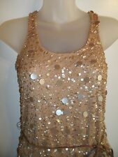 Boston Proper XXS Dress Gold Sequin Beaded Beige Nude Cocktail Spring Party CHIC
