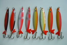 "8 NEW Assorted Spoon Metal Fishing Lure Bait Lot 3.25"" treble hooks jig lures"