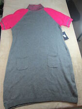 TOMMY HILFIGER GRAY/PINK COTTON BLD SHORT SLEEVE SWEATER DRESS MISSES SZ S; NWT