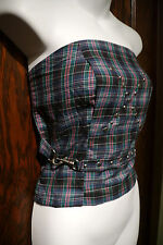 DIY PUNK PLAID TUBE TOP bandeau OOAK studded bondage cropped tank school girl M