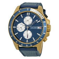 Tommy Hilfiger Jace Multi-Function Blue Dial Blue Leather Strap Quartz Mens