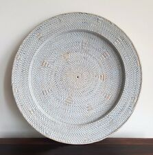 Tray, wall hanging, rattan with motif,  blue washed, 70cm diam, decorative decor