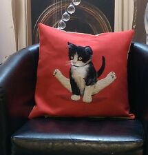 Red With Black And White Cat Sitting Evans Lichfield Cushion Cover